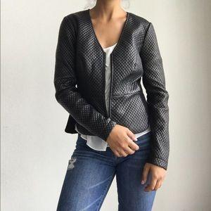 BCBG Maxazria faux leather trimmed jacket blazer S